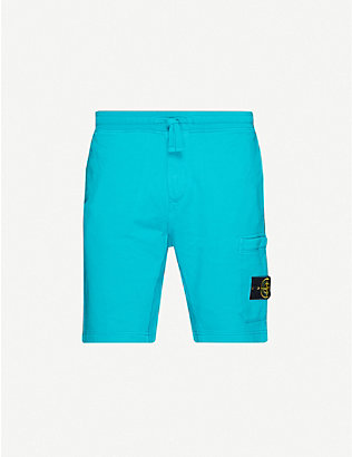 STONE ISLAND: Logo-patch cotton-jersey tracksuit shorts
