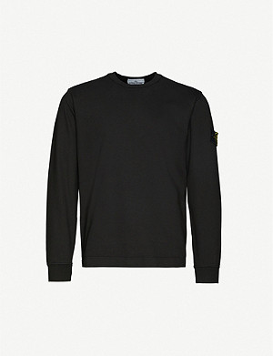 STONE ISLAND Logo-patch cotton-jersey sweatshirt