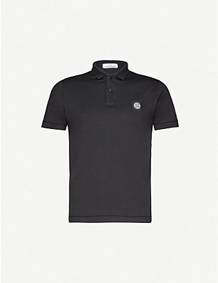 STONE ISLAND: Logo-embroidered cotton-jersey polo shirt