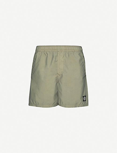 STONE ISLAND: Logo-embroidered brushed-shell shorts