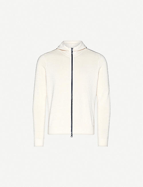 STONE ISLAND Logo-print cotton and linen-blend hoody