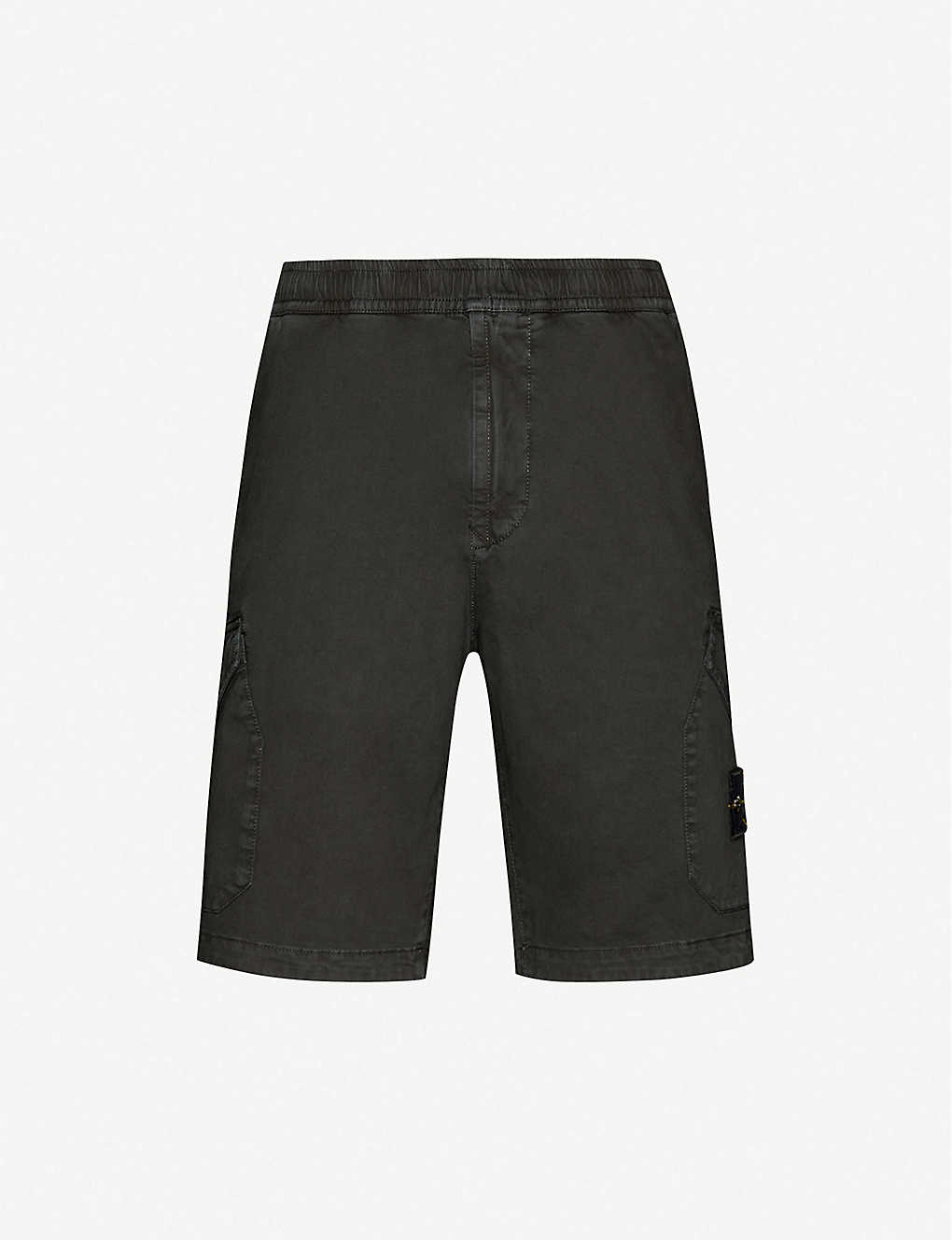 STONE ISLAND: Logo-badge straight stretch-cotton shorts