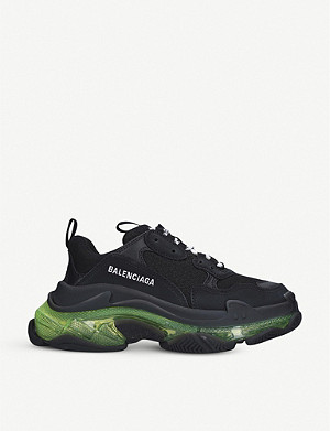 BALENCIAGA Triple S Bubble woven leather and mesh trainers
