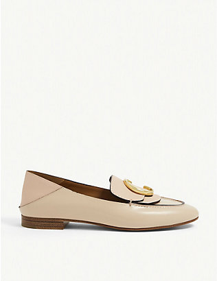 CHLOE: Logo-plaque leather loafers