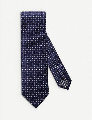 ETON: Graphic-embroidered silk tie