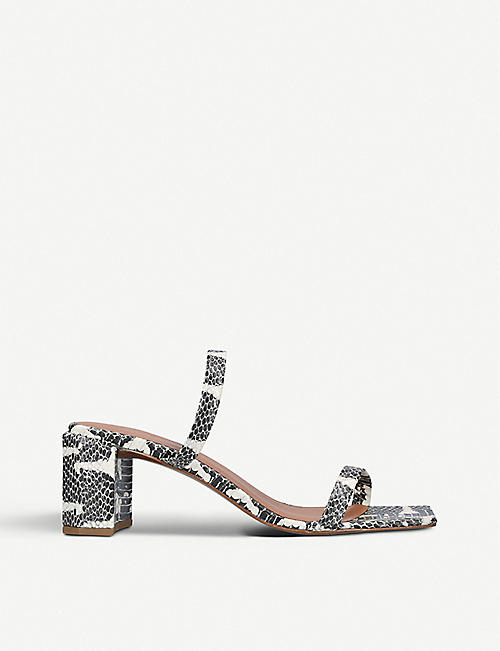 BY FAR: Tanya snakeskin-print heeled leather mules