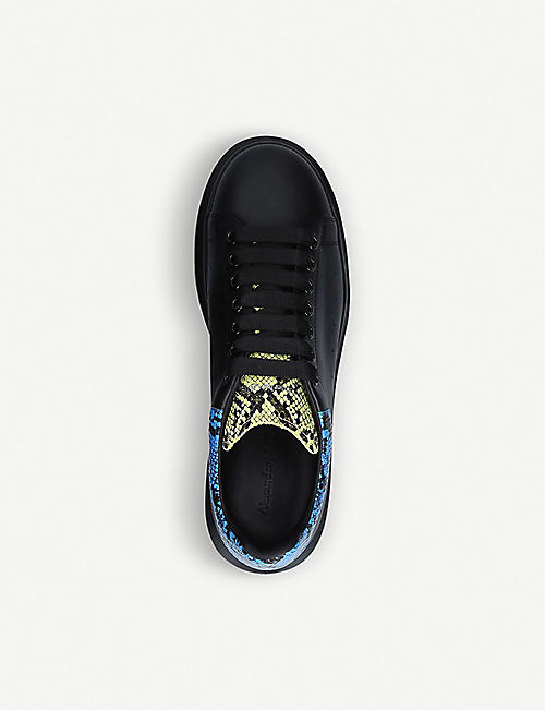ALEXANDER MCQUEEN Show snake-embossed leather platform trainers