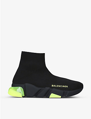 BALENCIAGA: Women's Speed Bubble clear-sole stretch-knit mid-top trainers