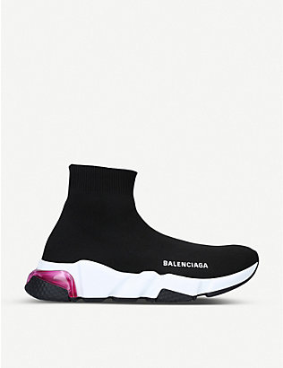 BALENCIAGA: Speed knitted bubble high-top trainers
