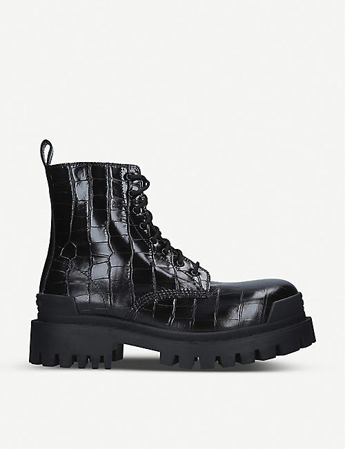 BALENCIAGA: Strike croc-embossed leather platform ankle boots