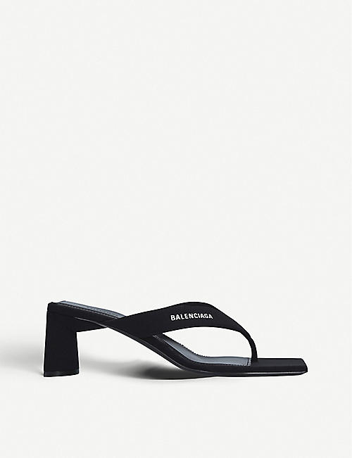 BALENCIAGA: Logo-embossed backless woven heeled sandals
