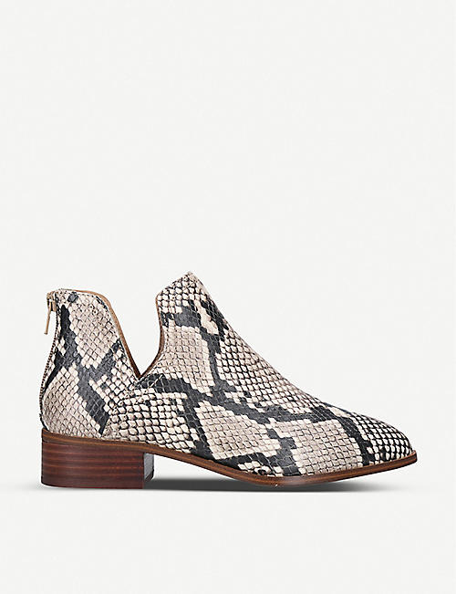 ALDO: Kaica snakeskin-print leather ankle boots