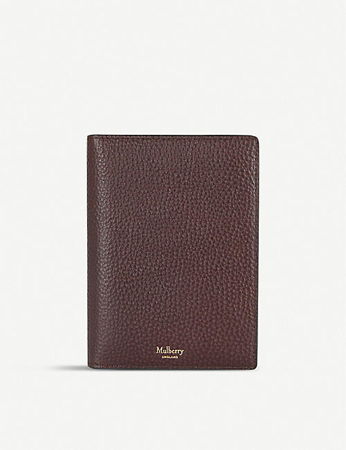 MULBERRY Logo-embossed pebbled leather passport wallet