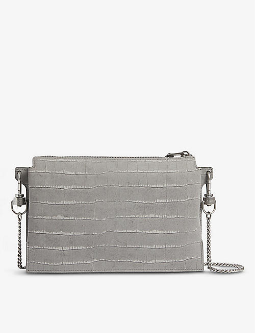ALLSAINTS: Fletcher croc-effect suede cross-body bag
