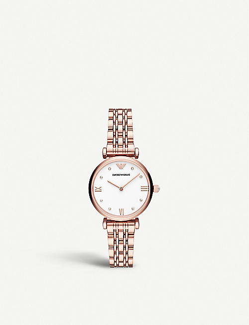 EMPORIO ARMANI: AR11267 Gianni rose gold-plated stainless steel watch