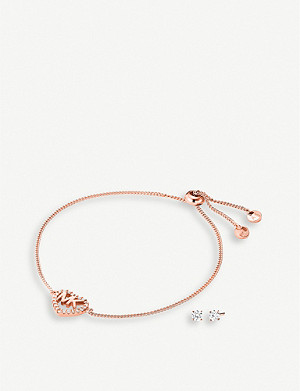MICHAEL KORS Rose gold-plated sterling-silver logo slider bracelet