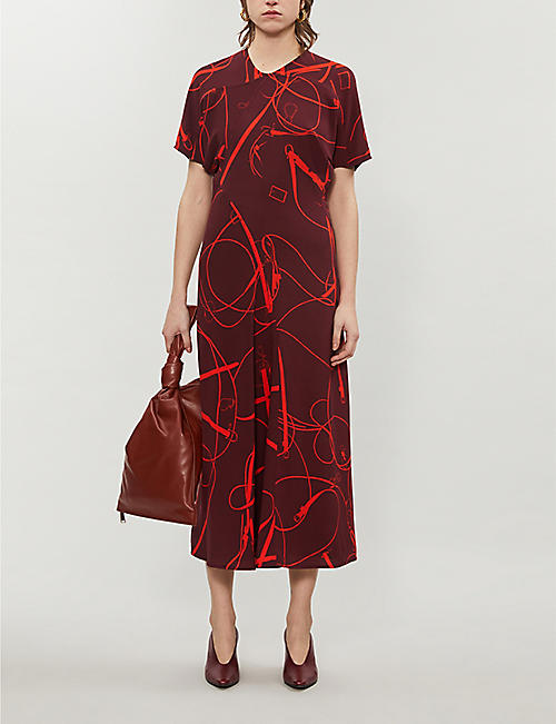 VICTORIA BECKHAM Printed crepe midi dress