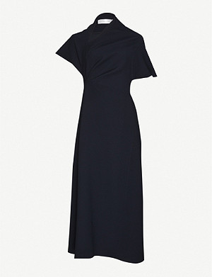 VICTORIA BECKHAM Asymmetric crepe midi dress