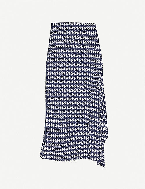 VICTORIA BECKHAM Houndstooth-print high-waisted woven skirt