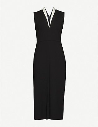 VICTORIA BECKHAM: V-neck contrast-trim crepe midi dress