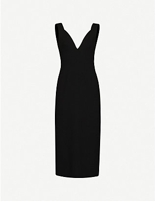 VICTORIA BECKHAM: V-neck crepe midi dress