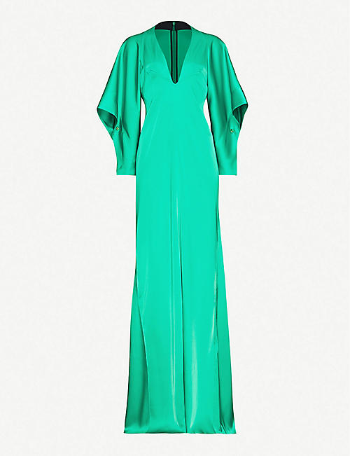 VICTORIA BECKHAM: Raglan-sleeve satin maxi dress