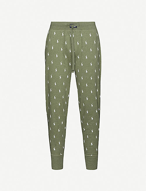 POLO RALPH LAUREN: Cotton-jersey all-over logo-print jogging bottoms