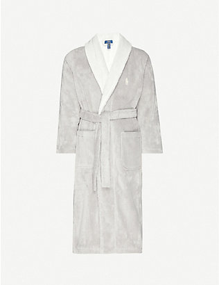 POLO RALPH LAUREN: Logo-embroidered cotton-towelling bathrobe