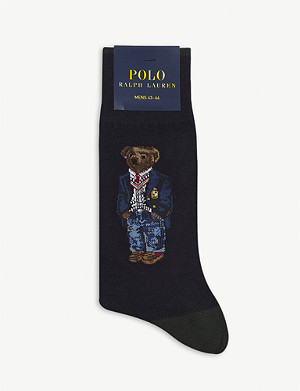 POLO RALPH LAUREN Polo Bear and crest cotton-blend dress socks