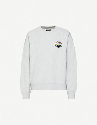 STUSSY: Loni graphic-embroidered cotton-jersey sweatshirt