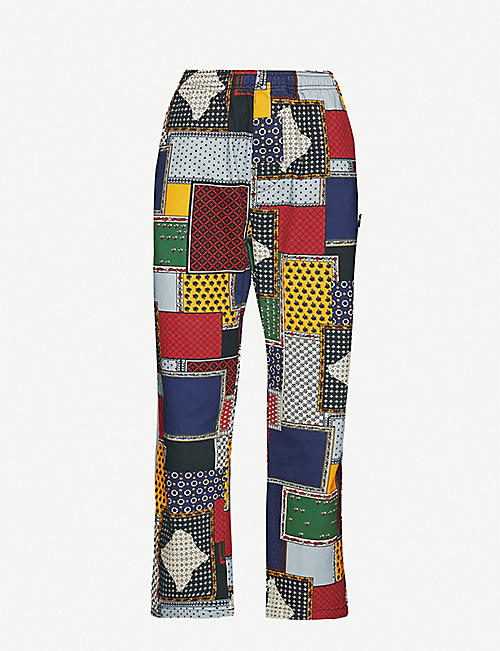 STUSSY Patchwork-print corduroy straight-leg trousers