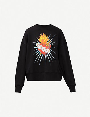 PALM ANGELS: Sacred Heart graphic-print cotton-jersey sweatshirt