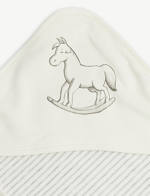 THE LITTLE TAILOR Hooded rocking horse cotton blanket