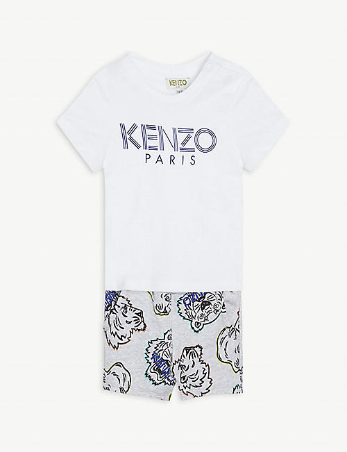 KENZO: Logo-print cotton T-shirt and shorts set 6-36 months