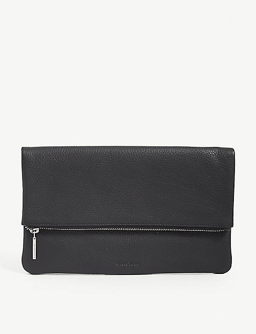 WHISTLES Chapel fold over leather clutch