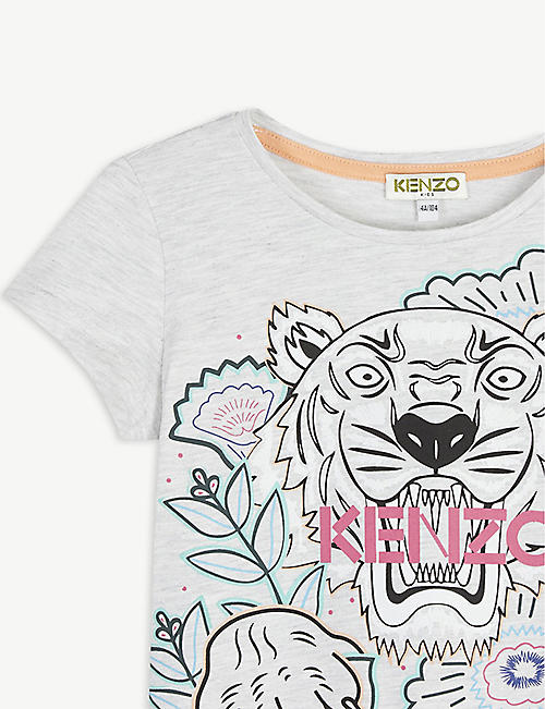KENZO Tiger flower graphic cotton-blend T-shirt 4-12 years