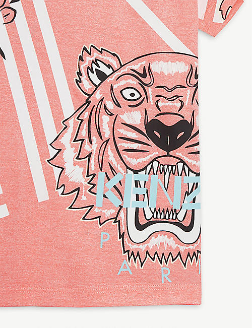 KENZO Eye and tiger motif woven T-shirt 4-12 years