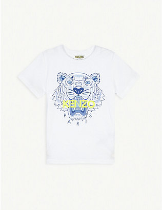 KENZO: Tiger logo-print cotton T-shirt 2-16 years