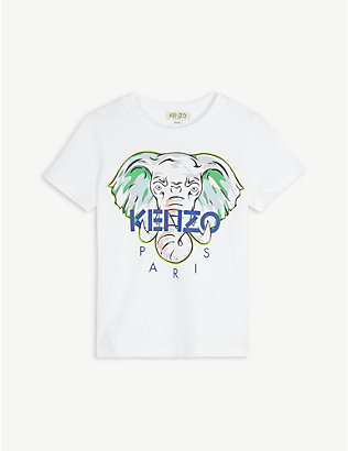 KENZO: Elephant logo graphic cotton T-shirt 4-14 years