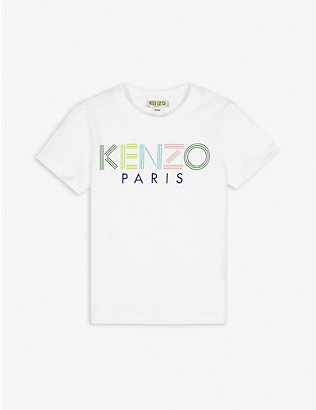 KENZO: Striped logo cotton T-shirt 4-14 years