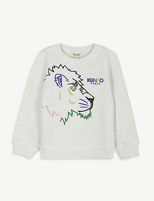 KENZO Tiger embroidered cotton sweatshirt 4-14 years