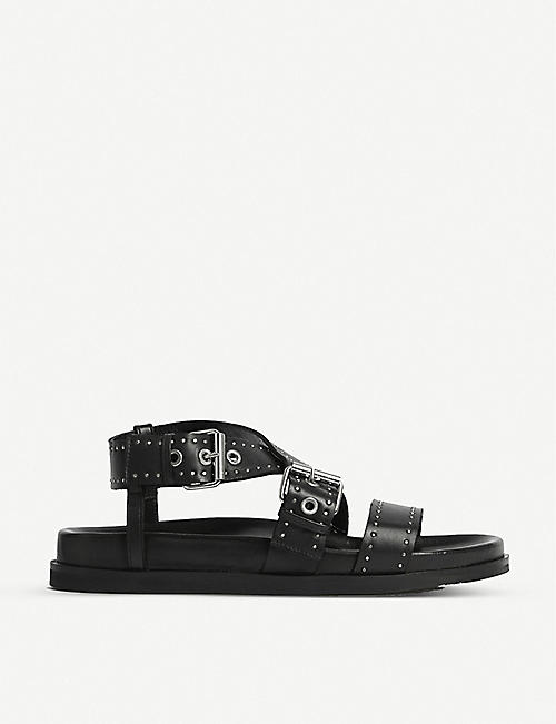ALLSAINTS: Nina studded leather flatform sandals