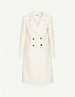 TED BAKER: Checked double-breasted woven coat