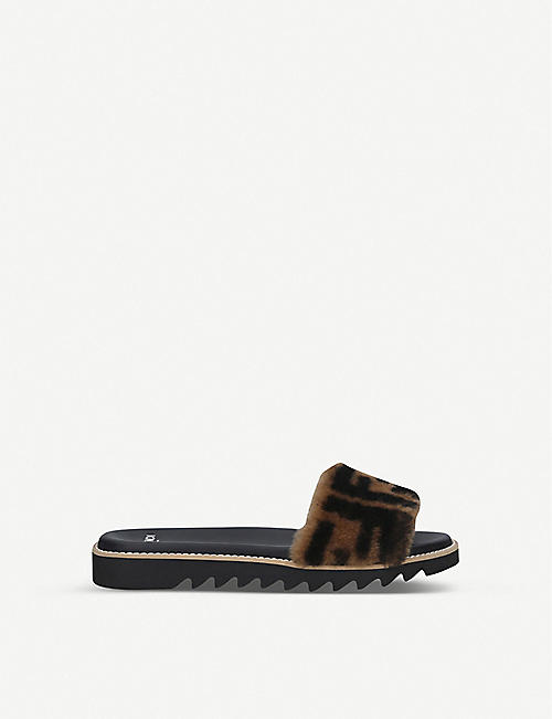 FENDI: Logo-print shearling sliders 7-12 years