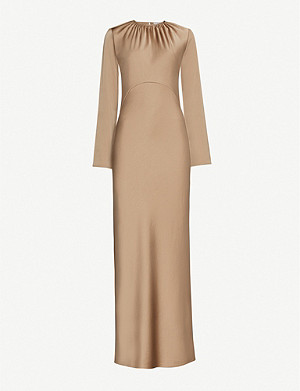 GEORGIA ALICE Scoop-neck satin-crepe maxi dress