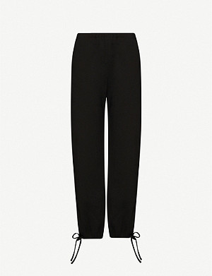 GEORGIA ALICE Teardrop straight-leg high-rise crepe trousers