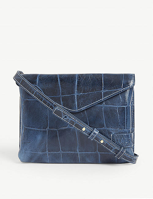 STAUD Holly croc-embossed leather crossbody bag