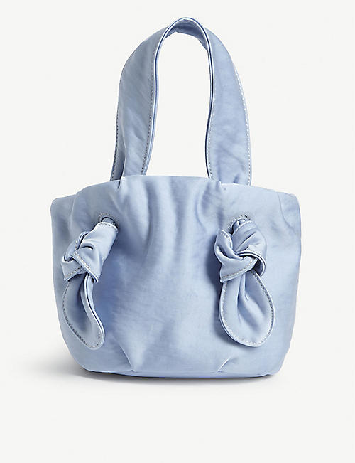 STAUD Ronnie bow-detailed satin shoulder bag