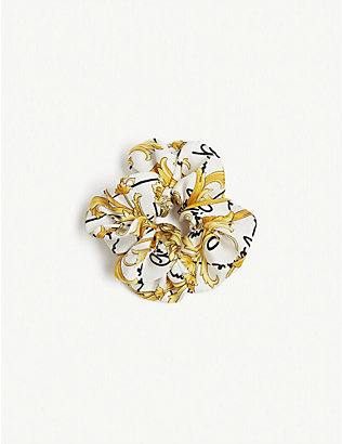 VERSACE: Logo-print hair scrunchie