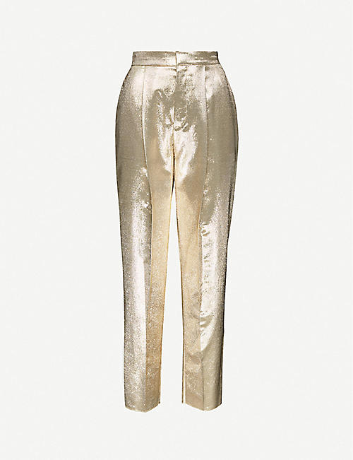 DUNDAS: Tapered high-rise silk-blend trousers
